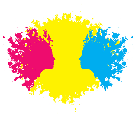 blotches: Female faces formed in red and blue paint blotches against yellow. Illustration