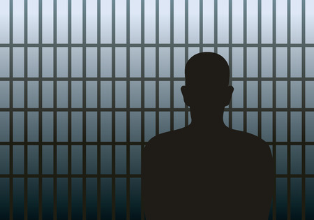 man in jail: Vector illustration of a man in jail.