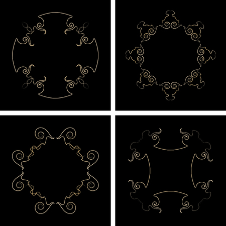 Vector set of four decorative frames.