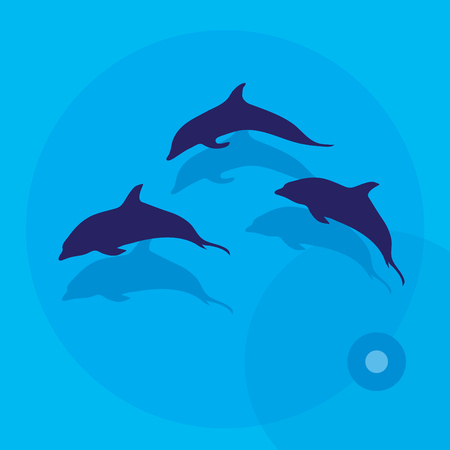 Vector illustration of three dolphins over sea. Illustration
