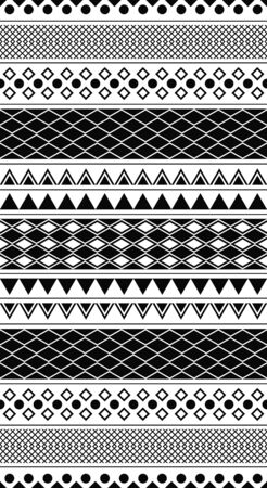 Vector illustration of a black and white geometric pattern tiles seamlessly. Illustration