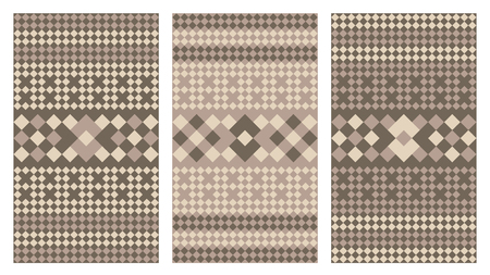 triangles: Three Variations of a Geometric Pattern that tiles seamlessly. Vector Illustration.