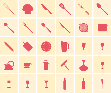 Silhouette of cooking icons in red on yellow background in grid. Illustration