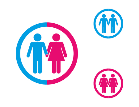 Couples, same sex and opposite sex, represented in graphics contained in blue and pink circles on white background.