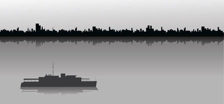 Ship sailing at sea with a silhouetted city skyline in the background.
