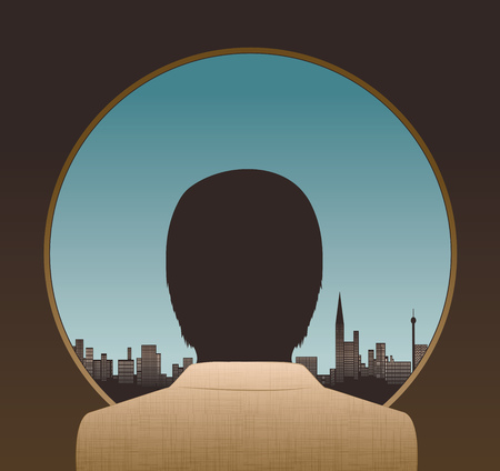Illustration of smartly dressed man looking out over the urban landscape with skyscrapers and blue sky background.