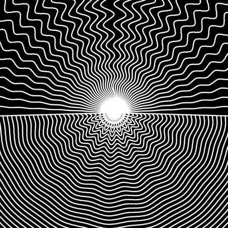 An illustration of black and white lines merging in the center.