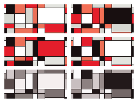 Colour variations of a vector background inspired by Piet Mondrian.