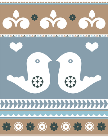 facing: Design illustration with two white love birds facing each other. Illustration