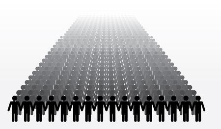 la union hace la fuerza: Ilustraci�n del vector de siluetas humanas que llevan a cabo las manos.