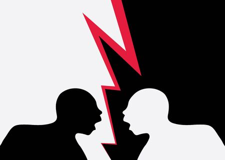 Illustration of two identical men seen in silhouette, one black and one white shouting in violent disagreement, red flash separating them. Illustration