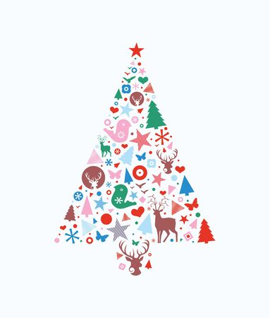 filled: Abstract decorative Christmas tree shape filled with different seasonal icons.