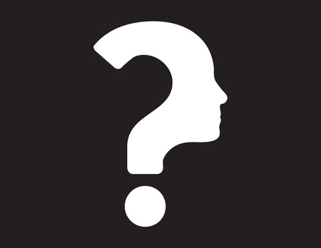 Black and white vector illustration of human face with question mark.