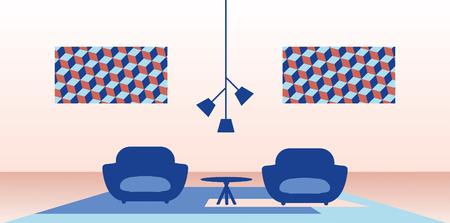 Illustration of modern home interior. Иллюстрация