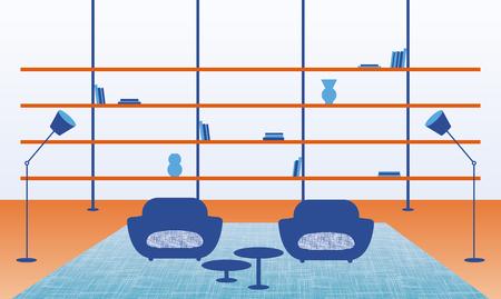 Vector illustration of modern home interior. Иллюстрация