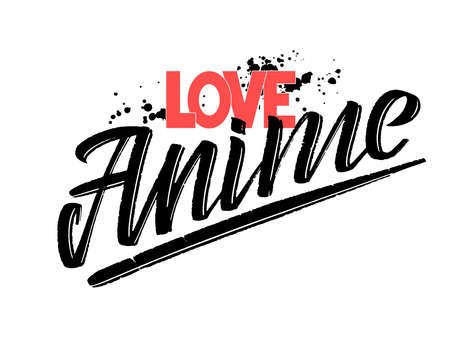 Vector illustration of love anime text for stickers, cards and posters, also suit for accessories and clothing design. Hand drawn calligraphy, lettering, typography for anime lovers.