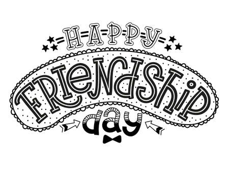 Vector illustration of Happy Friendship Day text for cards, banners and posters. Hand drawn calligraphy, lettering, typography for celebrating Friendship Day. Ilustração