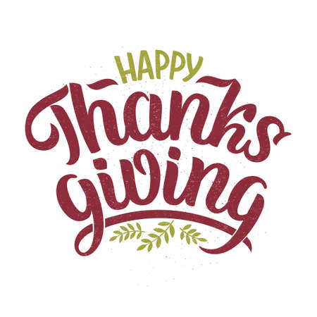 Vector illustration of Happy Thanksgiving text for cards, stickers, for any type of artworks like banners and posters. Hand drawn calligraphy, lettering, typography for the holiday events. Ilustração