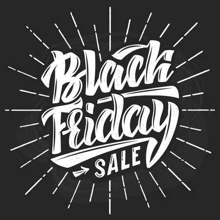 Illustration of Black Friday text on chalkboard.