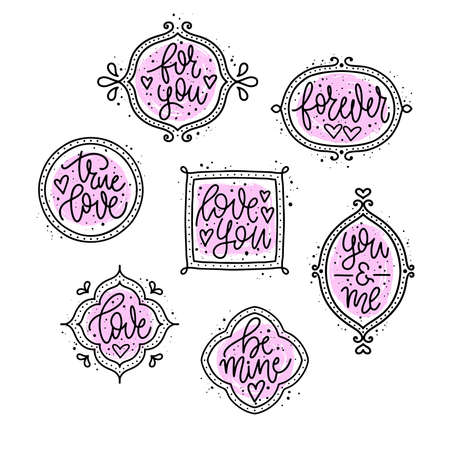 Set of vector illustrations of handwritten love phrases with ink spray. Hand-drawn calligraphy quotes for valentines cards. Иллюстрация