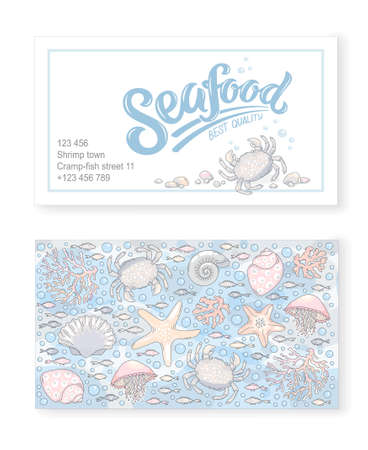 Sea creatures business card template vector illustration.