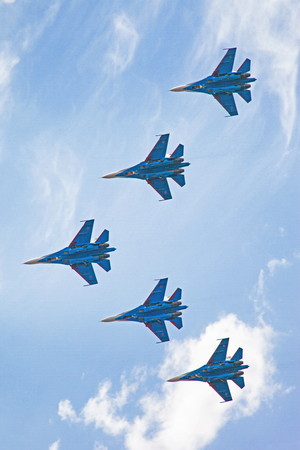 Military Jets Piloting on Airshow Stock Photo