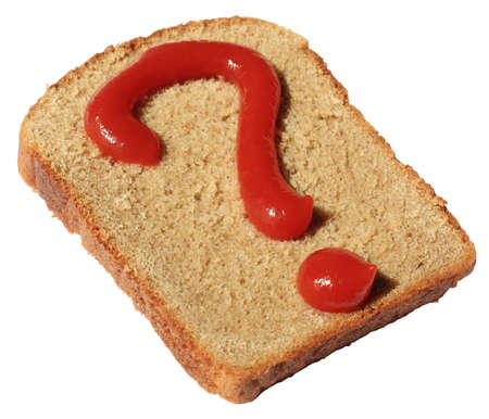piece of bread with a question drawn by ketchup