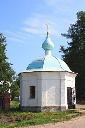 White chapel of the sacred virgin Maria on island Valaam Stock Photo