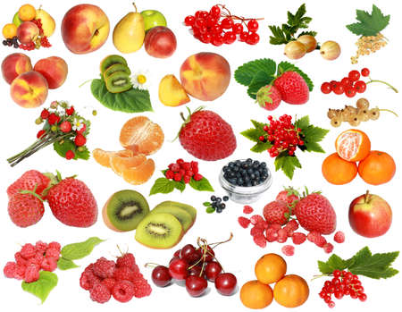 fruit and berries isolated on a white background photo