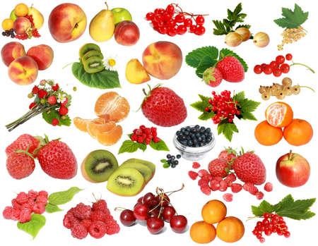 abstract fruit: frutos y bayas aislados en un fondo blanco