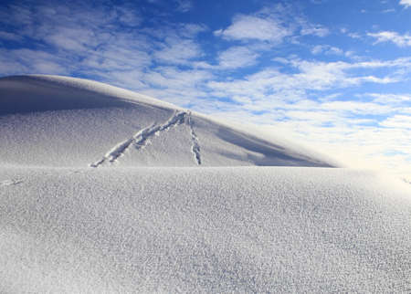 winter landscape with a dune and the sky