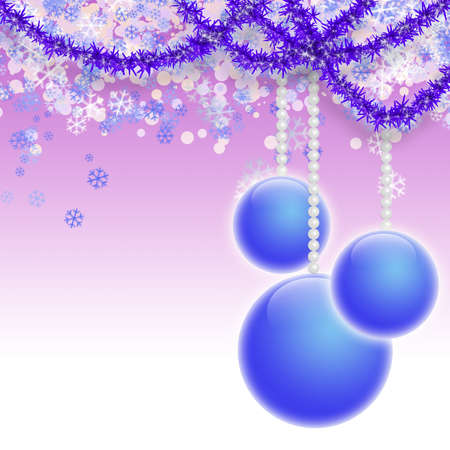 Beautiful New Years background with three blue balls and a tinsel  Stock Photo