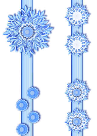 Different snowflakes on ribbons in blue tones  Stock Photo - 11602437