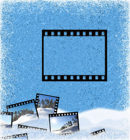 Beautiful ice background with a snow and a film  frame photo