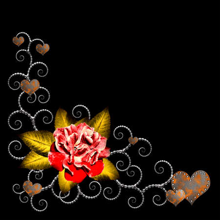 Design corner with a rose and metallic elementson a black background Stock Photo