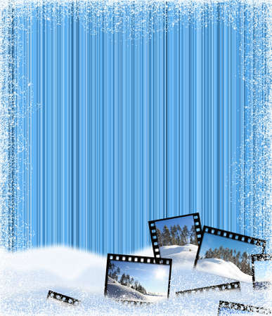 Beautiful winter striped frame in blue tones with a snow Stock Photo - 14583384