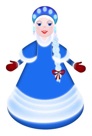 snow maiden: Painted snow-maiden of blue tones with red mittens on a white background