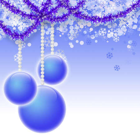 Beautiful bright christmas background in blue tones with balls