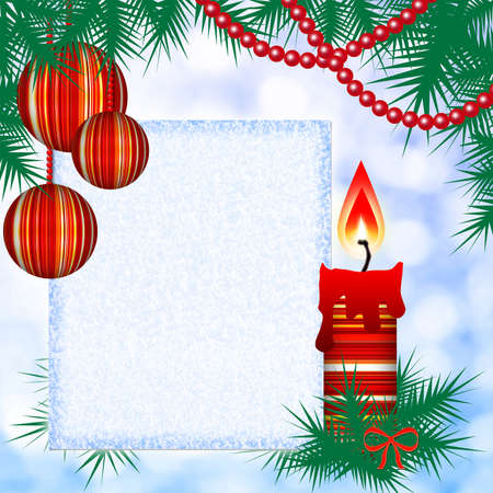 Square Christmas background with candles and blank photo