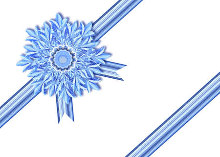 On a striped ribbon a greater openwork snowflake
