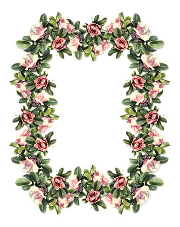 Rectangular vintage floral frame isolated on white background photo