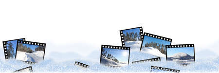 film frames with winter landscapes in snowdrifts on a white background