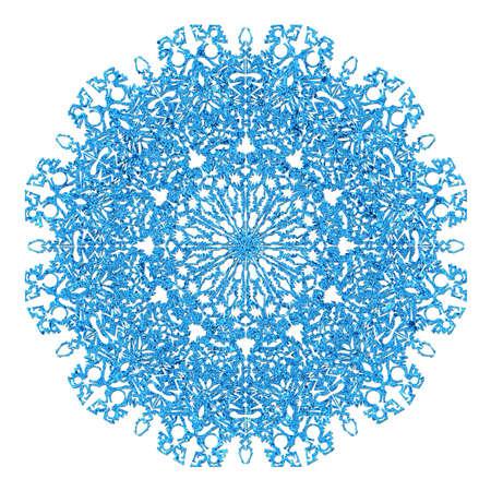 iceflower: Big delicato fiocco di neve blu isolato su sfondo bianco