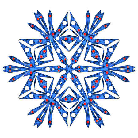 iceflower: Beautiful blue snowflake isolated on white background