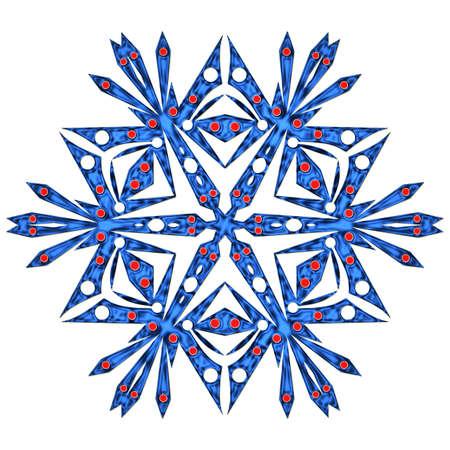 iceflower: Bello fiocco di neve blu isolato su sfondo bianco Archivio Fotografico