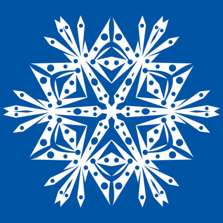 iceflower: One big white snowflake on a blue background