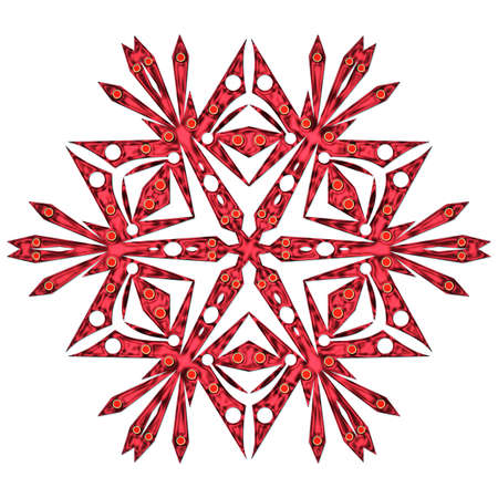 iceflower: One red snowflake close up isolated on white background