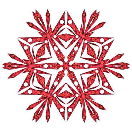 iceflower: Un fiocco di neve rosso close up isolato su sfondo bianco Archivio Fotografico