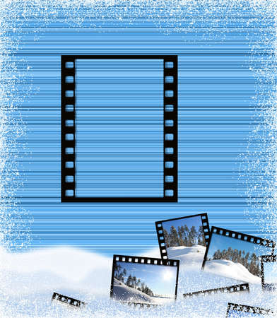 Striped background in blue tones with a film frame  photo