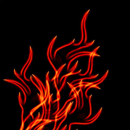 Illustration of yellow with red flame on a black background illustration